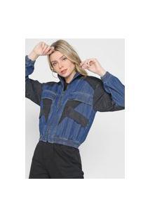 Jaqueta Jeans Forum Recortes Azul/Preta