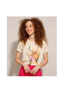 Camiseta De Viscose Com Estampa Floral Tropical Manga Curta Bege Claro