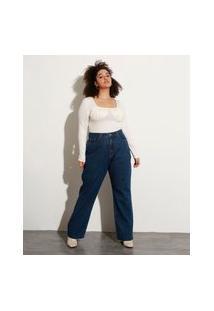 Calça Jeans Feminina Plus Size Mindset Reta Loose Copenhagen Cintura Super Alta Azul Escuro
