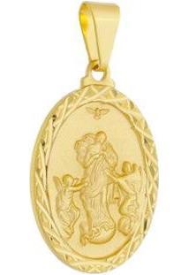 Pingente Medalha Desatadora De Nós Folheada A Ouro 18K - Unissex-Dourado