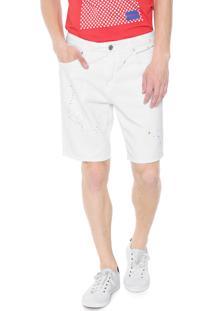 Bermuda Sarja Calvin Klein Jeans Reta Paint Splatter Branca