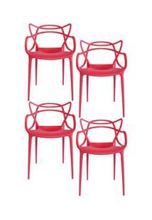 Kit 4 Cadeiras Decorativas Para Sala De Jantar Amsterdam F01 Vermelha