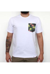 Tropical Fundo Preto - Camiseta Clássica Com Bolso Masculina
