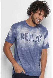 Camiseta Replay Devorê Masculina - Masculino-Azul