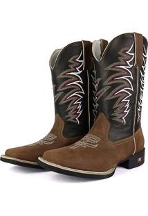 Bota Country Texana Sapatofran Bico Quadrado Tribal Preto