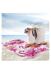 Toalha De Praia / Banho Flamingos Premium Único