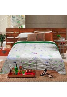 Edredom Casal Slim Hedrons Plush Soft Floral Verde E Cinza