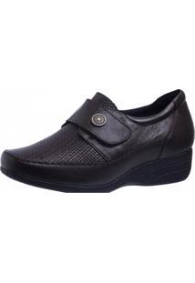Sapato Anabela Doctor Shoes 3145 Marrom Escuro