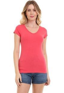 Camiseta Gola V Grupo Avenida Feminina - Feminino-Coral