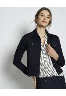 Jaqueta Em Sarja Com Recortes & Botãµes- Azul Escurolee