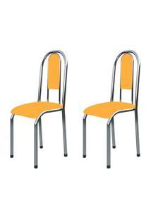 Kit 2 Cadeiras Anatômicas 0.122 Estofada Cromado/Laranja - Marcheli