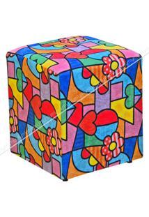 Puff Quadrado Decorativo Suede Estampado 429 Lyam Decor Colorido