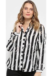 Camisa Pérola Manga Longa Listrada Feminina - Feminino-Preto