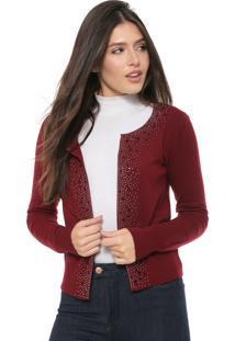Cardigan Facinelli By Mooncity Tricot Strass Vermelho