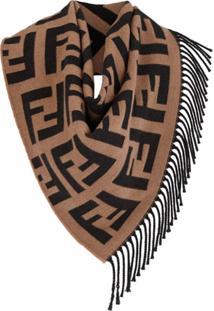 Fendi Lenço Com Logo Ff - Marrom