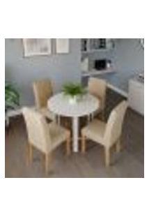 Conjunto De Mesa De Jantar Redonda Com Tampo De Vidro Flora I Off White E 4 Cadeiras Maia Linho Gengibre