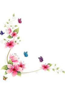 Adesivo De Parede Divanet Borboletas E Flores Colorido - Multicolorido - Feminino - Dafiti
