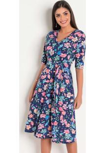 Vestido Floral Com Mangas 3/4 Moda Evangélica