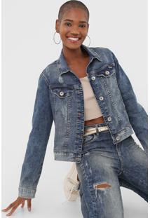 Jaqueta Jeans Colcci Desgastes Azul