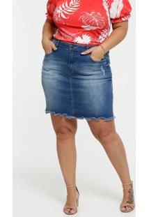 Saia Feminina Jeans Barra Desfiada Plus Size Marisa