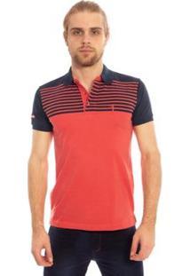 Camisa Polo Aleatory Listrada Band Masculina - Masculino-Coral