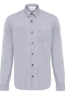 Camisa Masculina Slim Bolso - Cinza