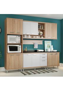 Cozinha Compacta Com Tampo 12 Portas 5815 Argila/Branco - Multimóveis