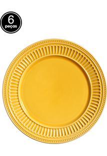 Conjunto 6 Pratos Rasos Poppy Amarelo Scalla