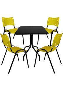 Jogo De Mesa Fixa 70 Por 70 Tampo Preto 4 Cadeiras Amarela Plástico