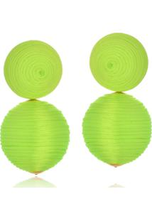 Brinco Le Diamond Amandita Fios De Seda Verde Florescente - Kanui