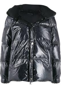 Goose Tech Patent Hooded Padded Coat - Preto