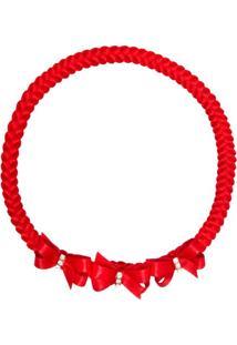 Faixa De Cabelo Trançada Lacinhos & Strass Vermelha - Roana 23840025007 Faixa De Cabelo Trançada 3 Laços Vermelho