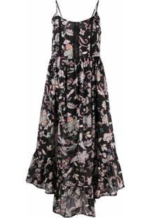 Twinset Vestido Midi Com Estampa Floral - Preto