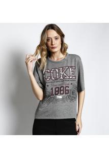 """Camiseta """"Coke®"""" Em Moletinho - Cinza & Bordô - Cocacoca-Cola"""