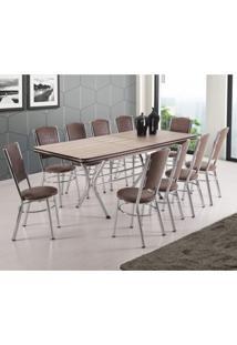 Conjunto De Mesa Com 10 Cadeiras Cannes Móveis Brastubo Carvalho/Tabaco