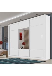 Guarda Roupa Casal Com Espelho 3 Portas De Correr Lotse Siena Móveis Branco
