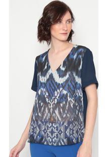Blusa Abstrata Com Vazados - Azul Marinho & Branca -ÊNfase