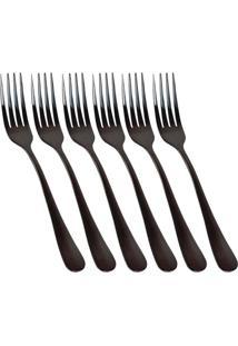 Conjunto De 6 Garfos De Sobremesa Elite Black - Tricae