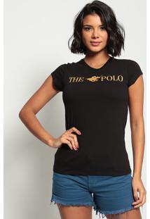 """Blusa """"The Polo""""- Preta & Douradaclub Polo Collection"""