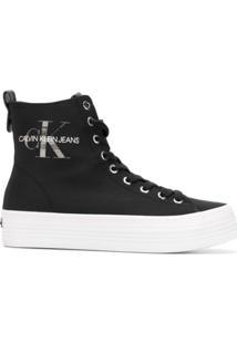 ... Calvin Klein Jeans Tênis Cano Alto - Preto 69e81e36f4