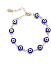 Pulseira Piuka Acessórios Olho Grego Azul Folheado A Ouro 18K Azul