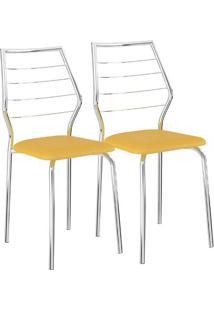 Cadeira 1716 02 Unidades Amarela/Cromada Carraro