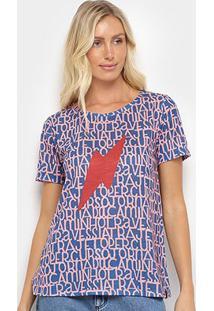 Camiseta Cantão Classic Letras Feminina - Feminino-Azul Escuro