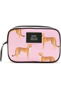 Schutz Necessaire Cheetah Estampada - Rosa