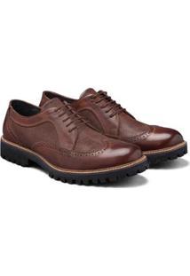 Sapato Casual Couro Élie Brogue Oxford Tadmor Masculino - Masculino-Café