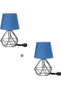 Kit 2 Abajur Diamante Dome Azul Com Aramado Preto - Tricae