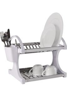 Escorredor Inox 12 Pratos 34X31X10 Cm Branco