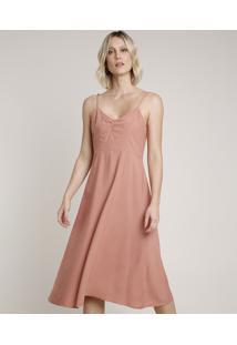 Vestido Feminino Midi Alça Fina Decote V Rosê Escuro