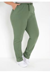 Calça Moletom Verde Plus Size Com Bolsos