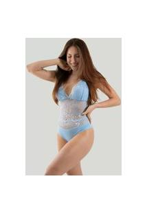 Body Sexy Renda Feminino Linha Noite Anita Azul Claro